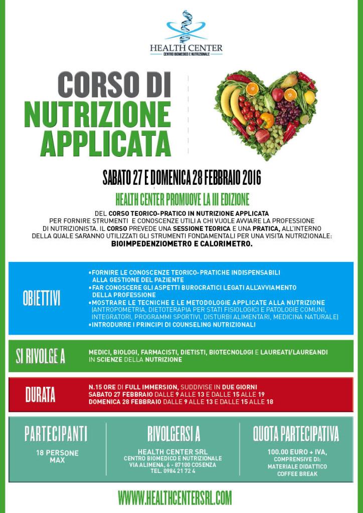 Corso di Nutrizione Applicata - 27 e 28 Febbraio 2016